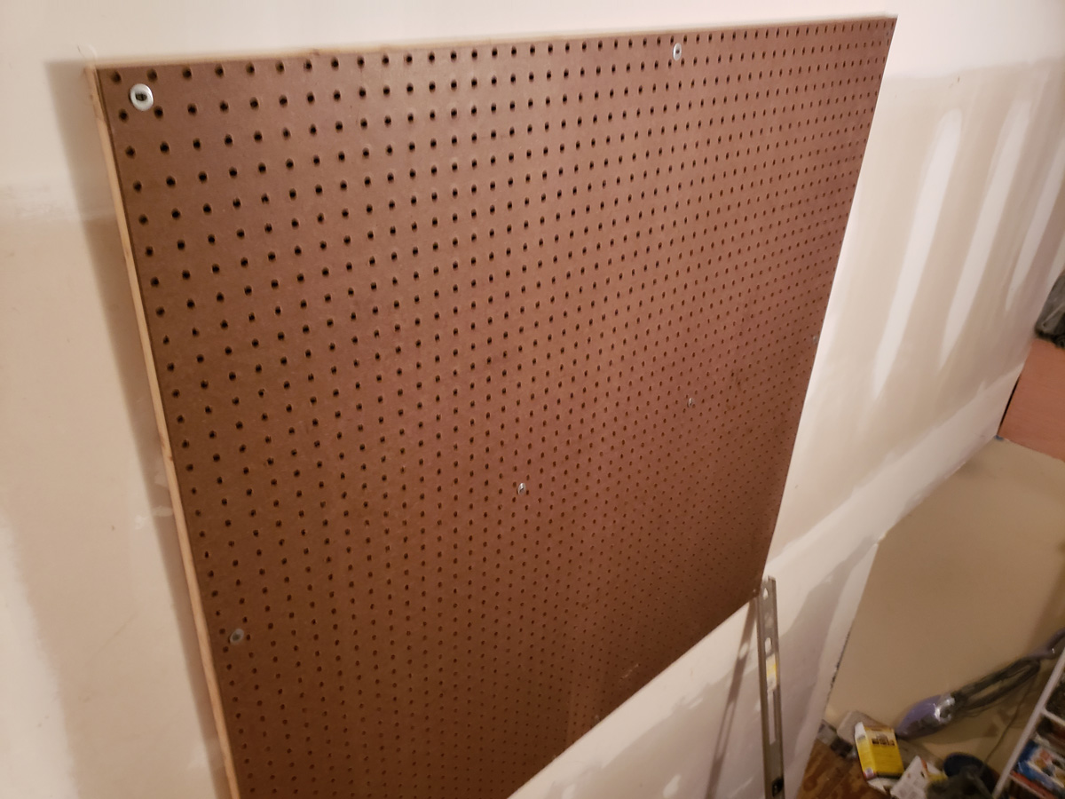 one completed section of pegboard