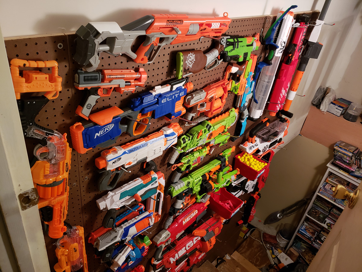 finished Nerf wall in use